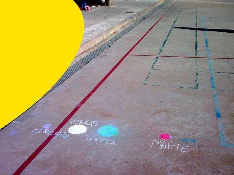 Los cuatro planetas interiores dibujados según su proximidad y tamaño relativo al Sol (aproximadamente).